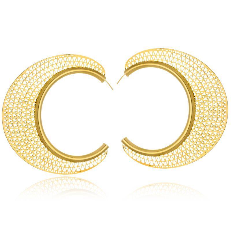 Brinco Argola Le Diamond bordado em fios de ouro