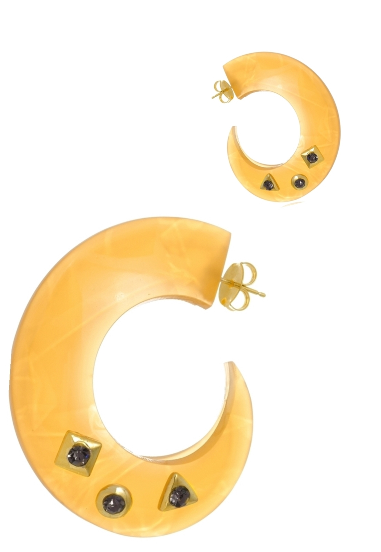Brinco Argola Le Diamond de Acrilico Amarelo