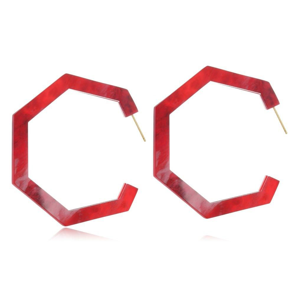 Brinco Argola Le Diamond Forma Geométrica Vermelha Mesclada