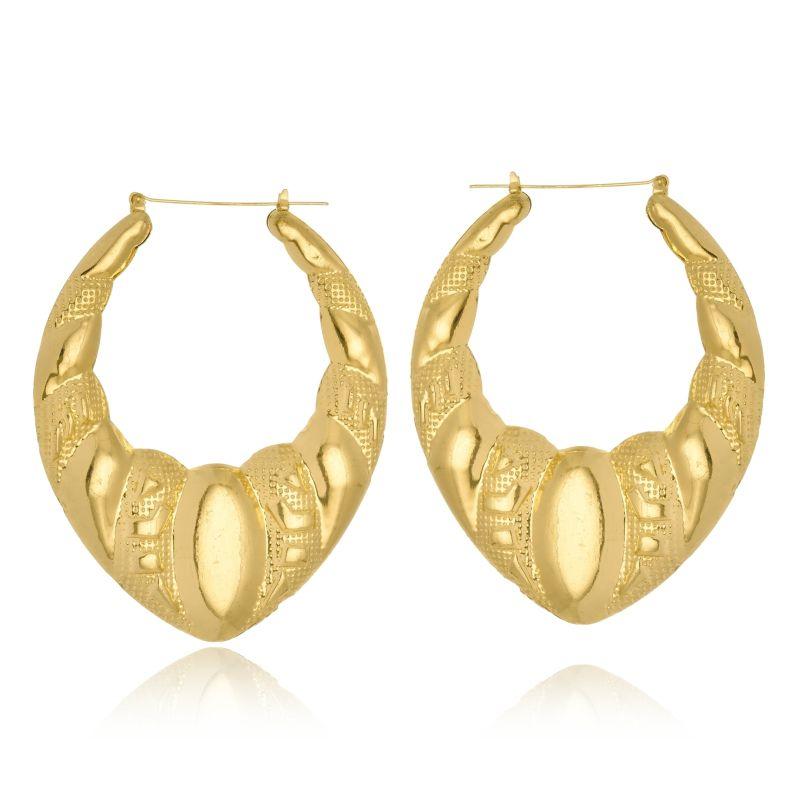 Brinco Argola Le Diamond formas ovais dourado