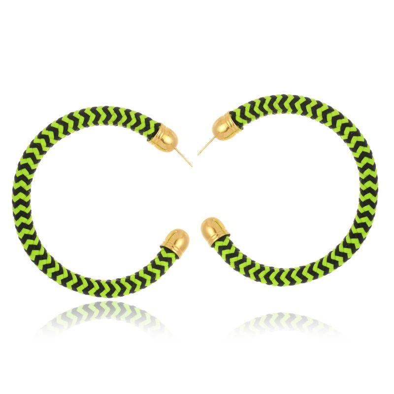 Brinco Argola Le Diamond Tecido Verde