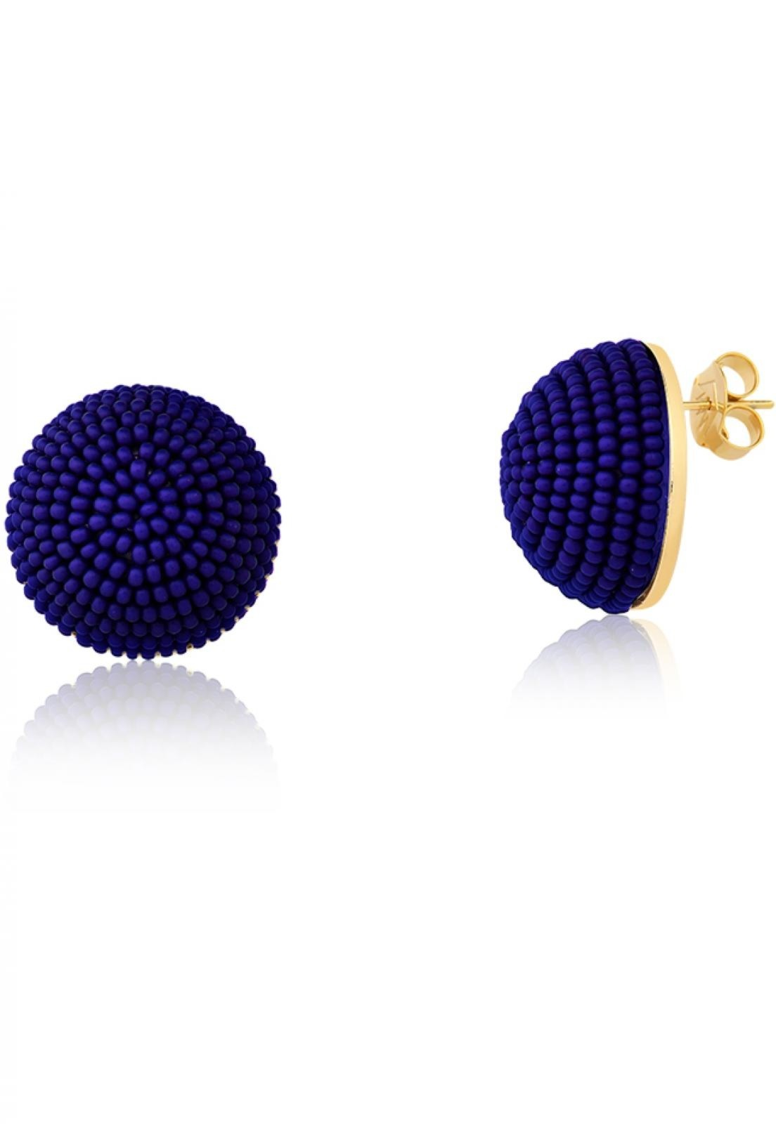 Brinco Botão  Le Diamond  Azul Marinho