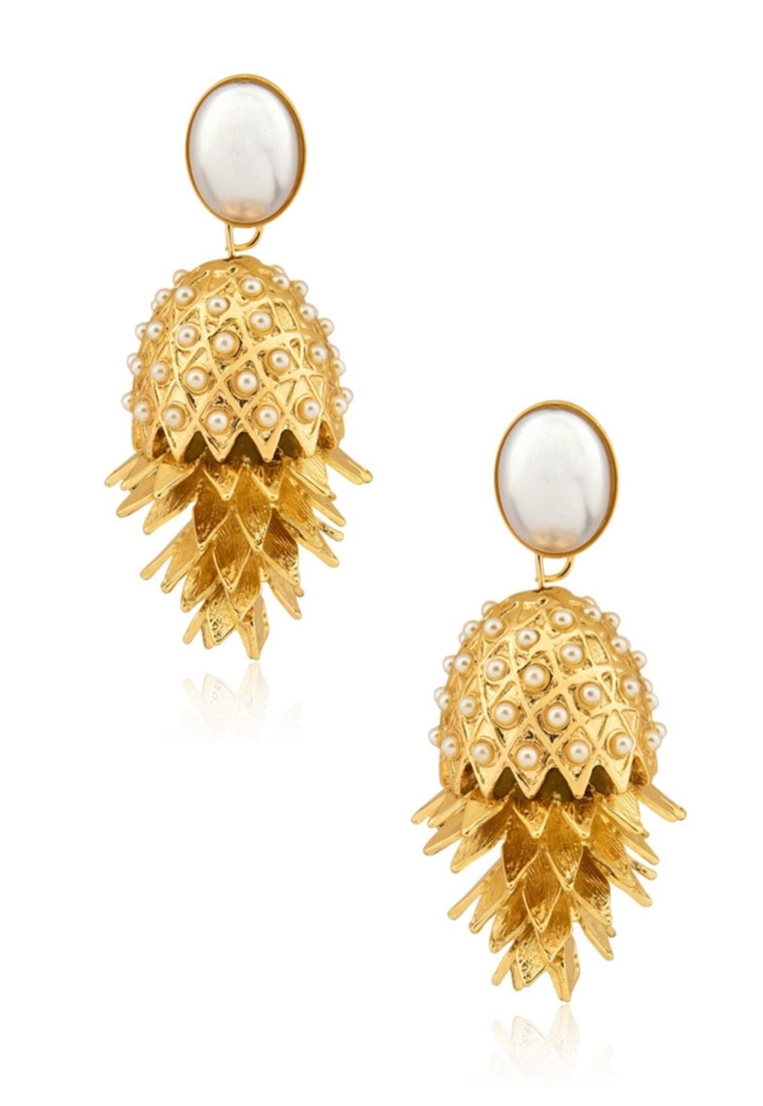 Brinco Le Diamond Abacaxi Base Pérola Dourado