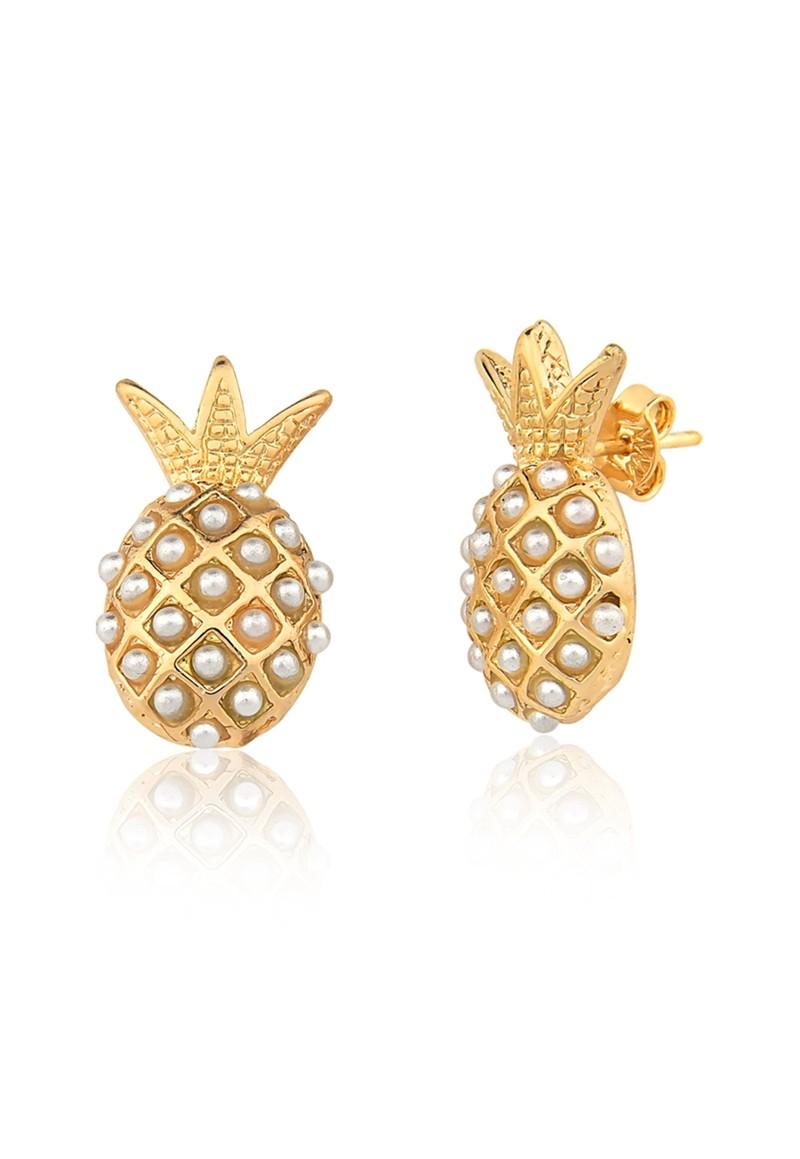 Brinco Le Diamond Abacaxi com Mini Pérolas Dourado