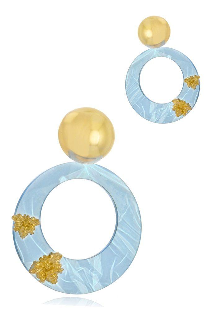 Brinco Le Diamond Acrílico Base Folheada e Abelhas Azul