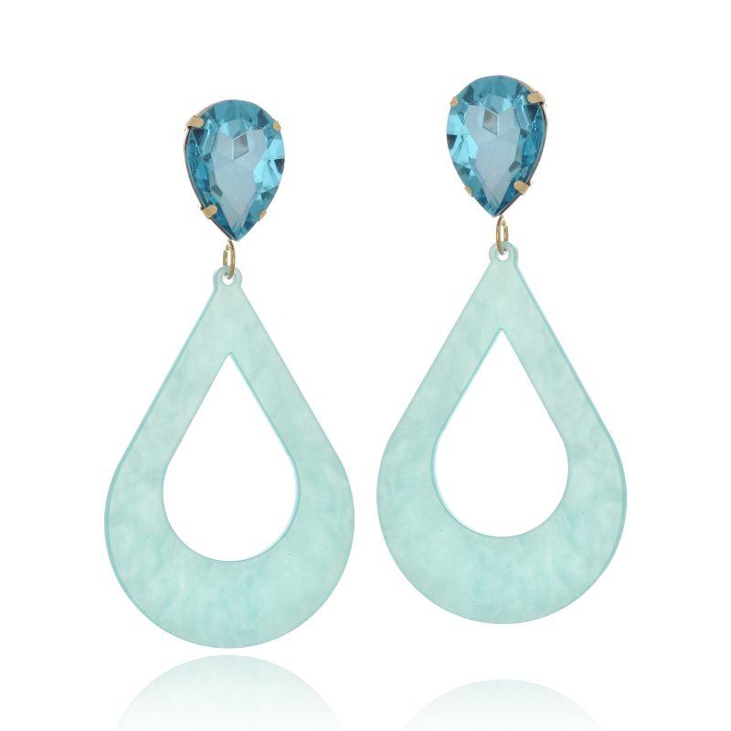 Brinco Le Diamond Acrílico Geométrico Base Cristal Azul Céu