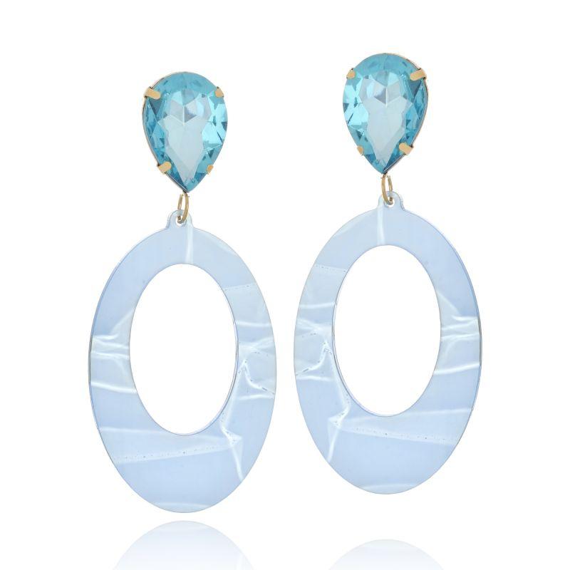 Brinco Le Diamond Acrílico Geométrico Base Cristal Azul Claro