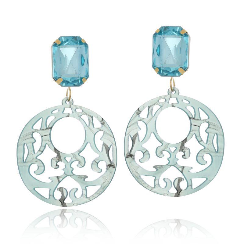 Brinco Le Diamond Acrílico Geométrico Base Cristal Azul Claro Mesclado