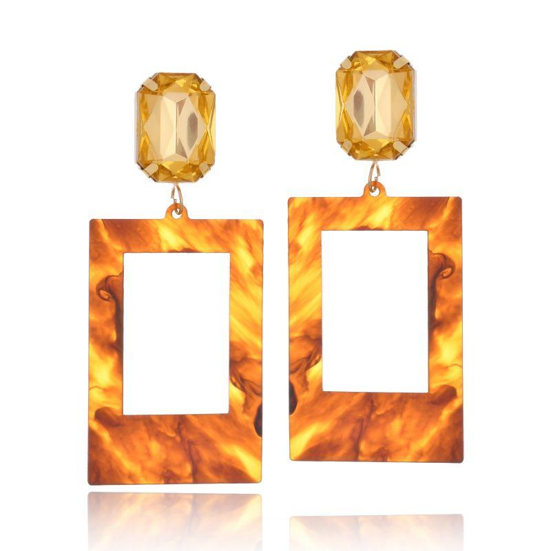 Brinco Le Diamond Acrílico Geométrico Base Cristal Laranja