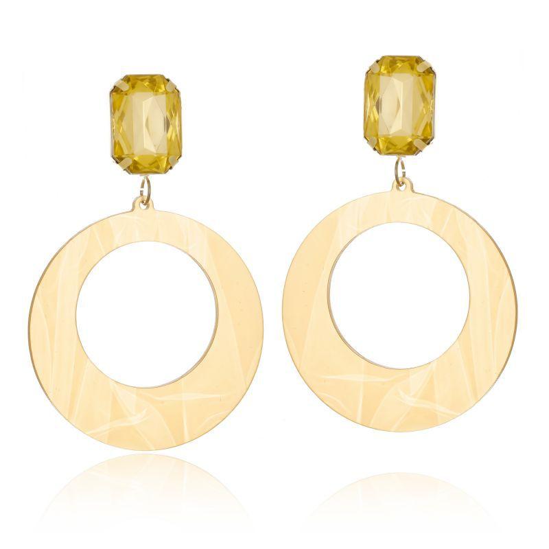 Brinco Le Diamond Acrílico Geométrico Base Cristal Dourado