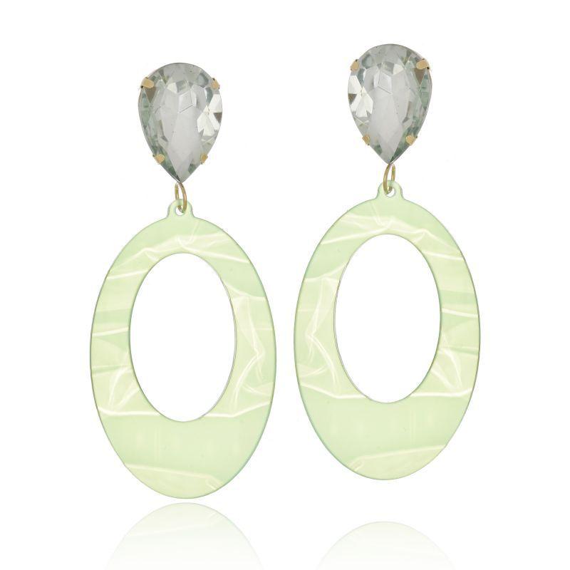 Brinco Le Diamond Acrílico Geométrico Base Cristal Verde