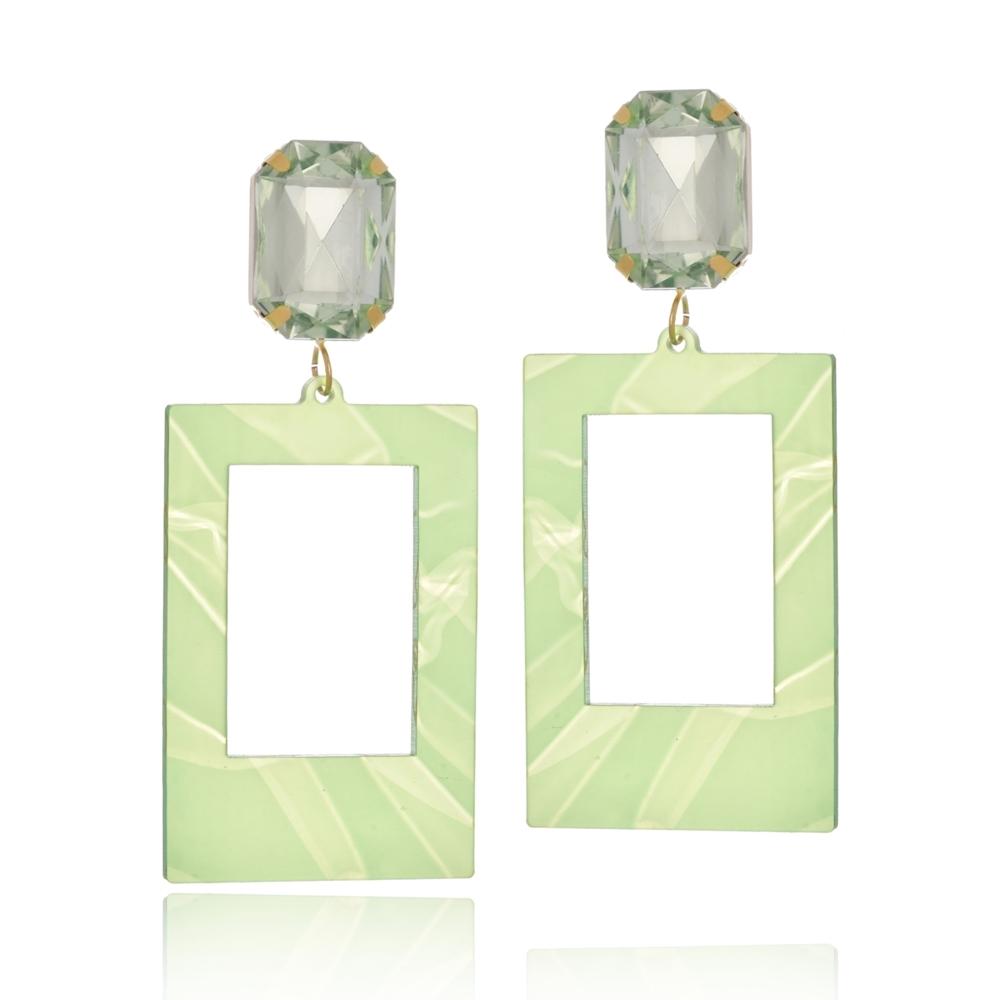 Brinco Le Diamond Acrílico Geométrico Base Cristal Verde Claro