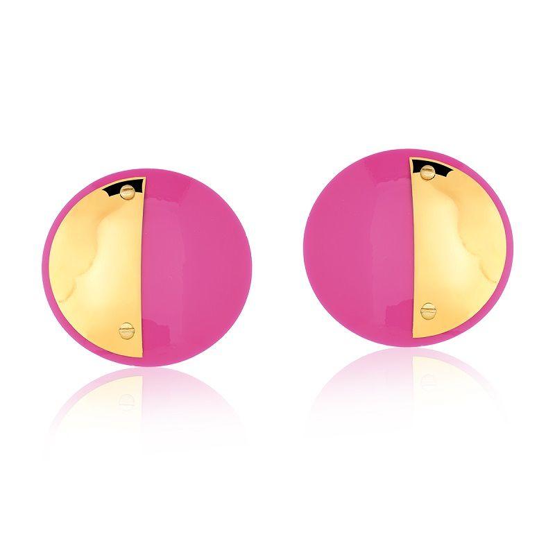 Brinco Le Diamond Acrílico Redondo Pink