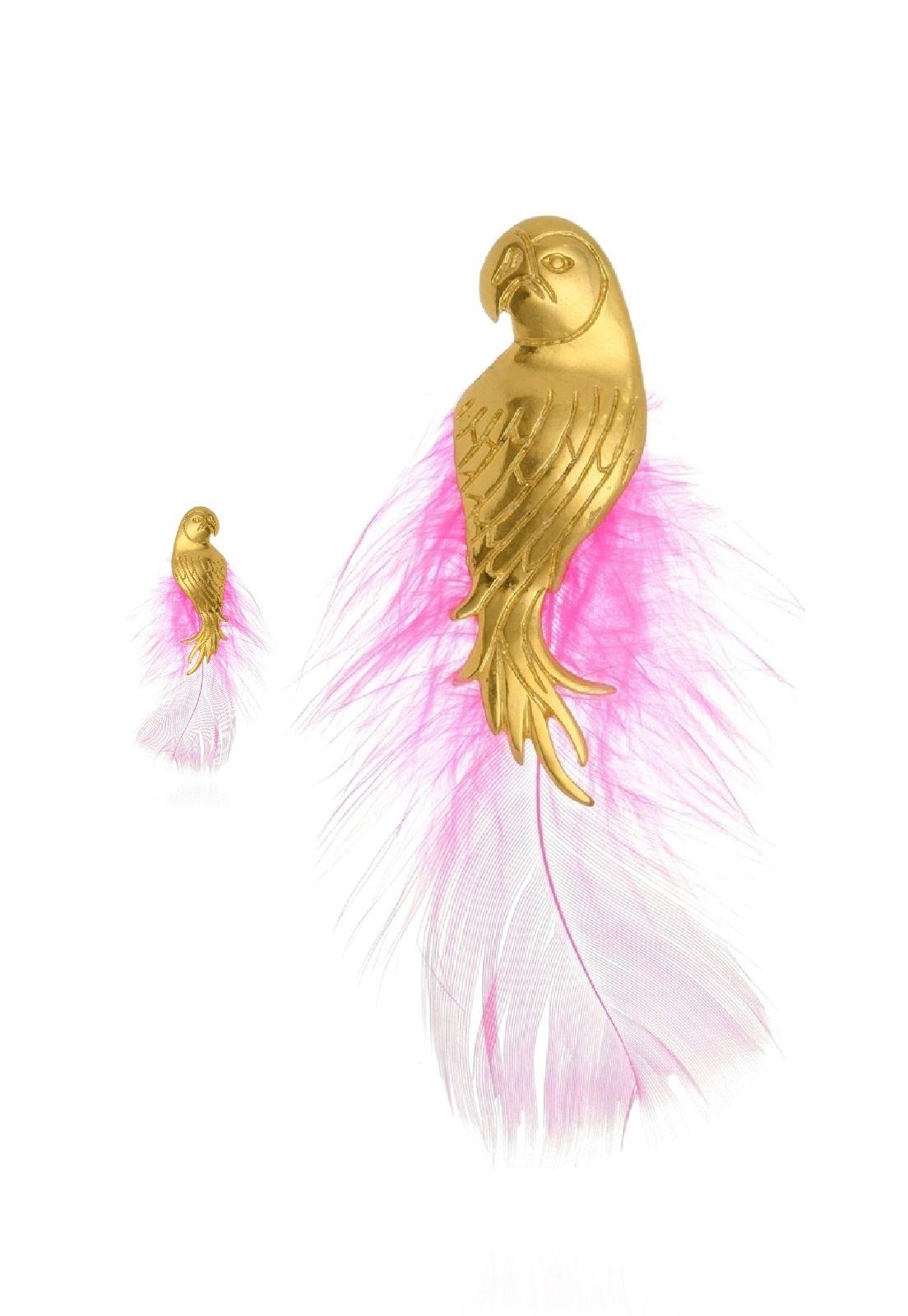 Brinco Le Diamond Africano Papagaio e Pena Dourado