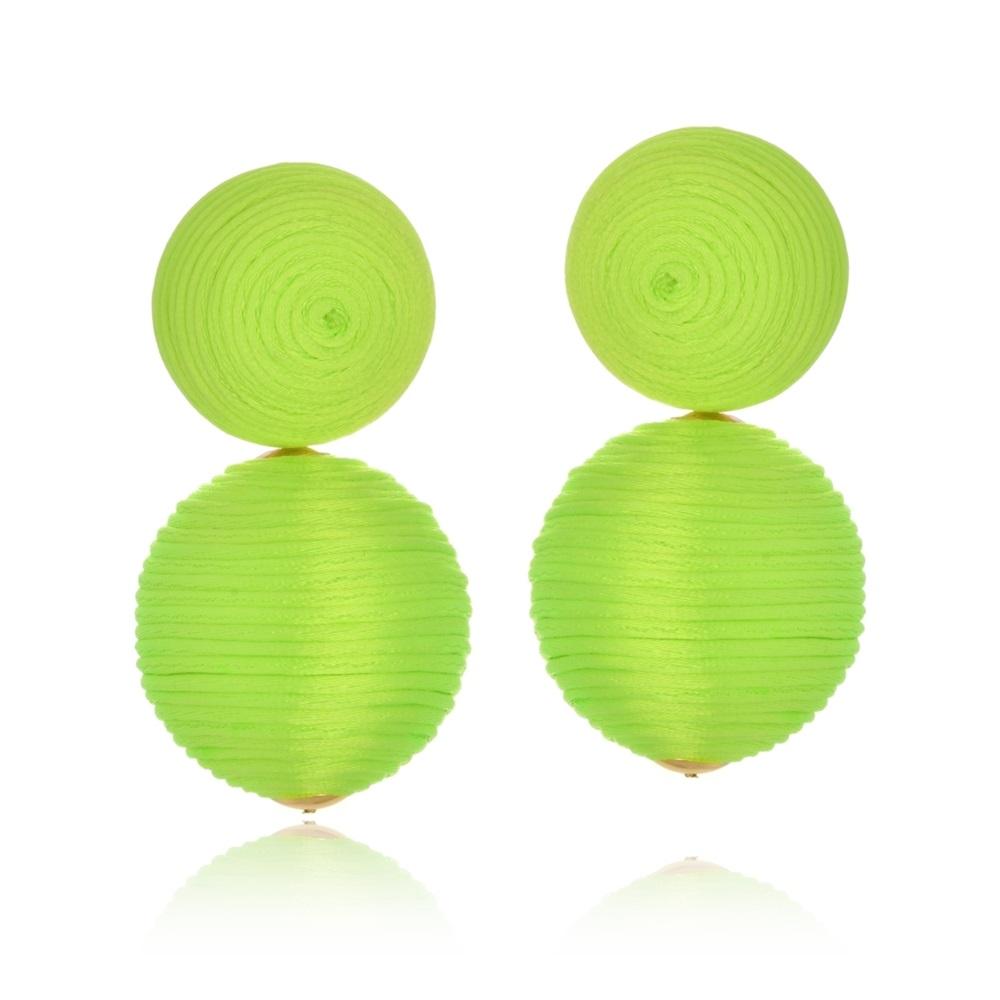 Brinco Le Diamond Amandita Fios de Seda Verde Florescente