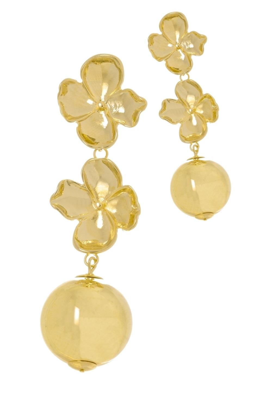 Brinco Le Diamond Base Flor com Flor e Bola Dourado