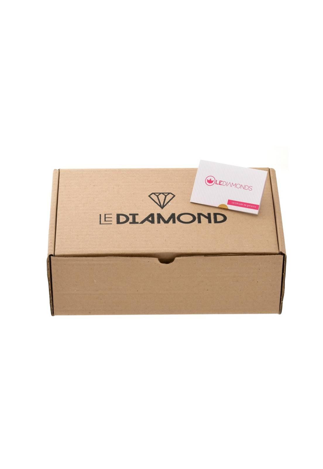Brinco Le Diamond Base Lisa Com Folha Esmaltada Branco