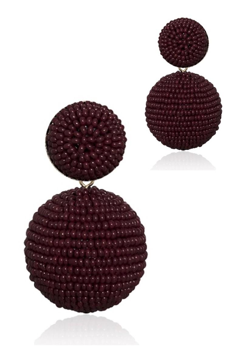 Brinco Le Diamond Bola de Miçanga Bordô