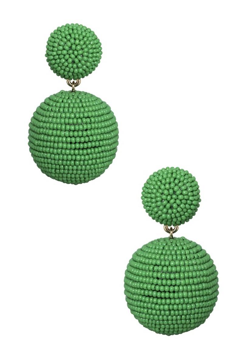 Brinco Le Diamond Bola de Miçanga Verde