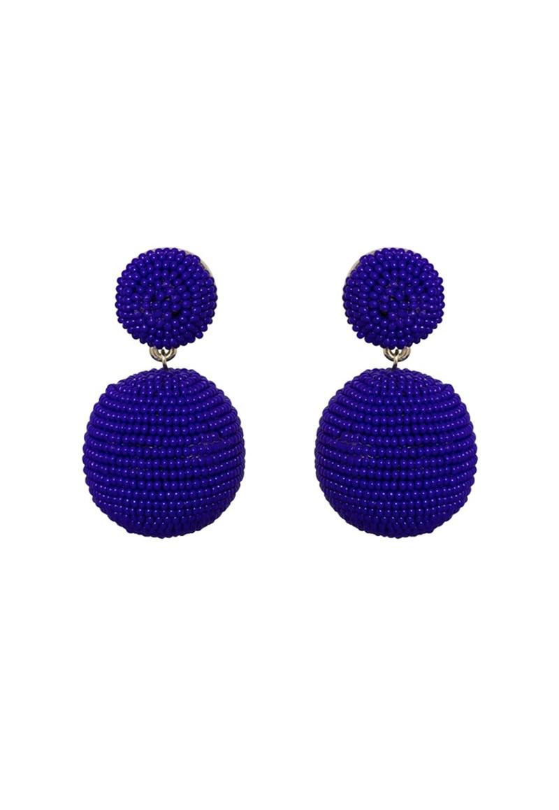 Brinco Le Diamond Bola de Miçangas Azul