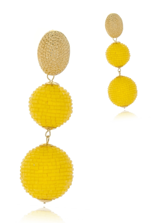 Brinco Le Diamond Bolas de Miçangas Amarelo