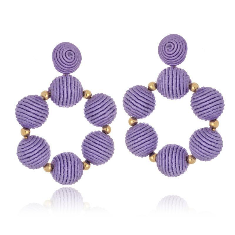 Brinco Le Diamond Bolas De Tecido lilás