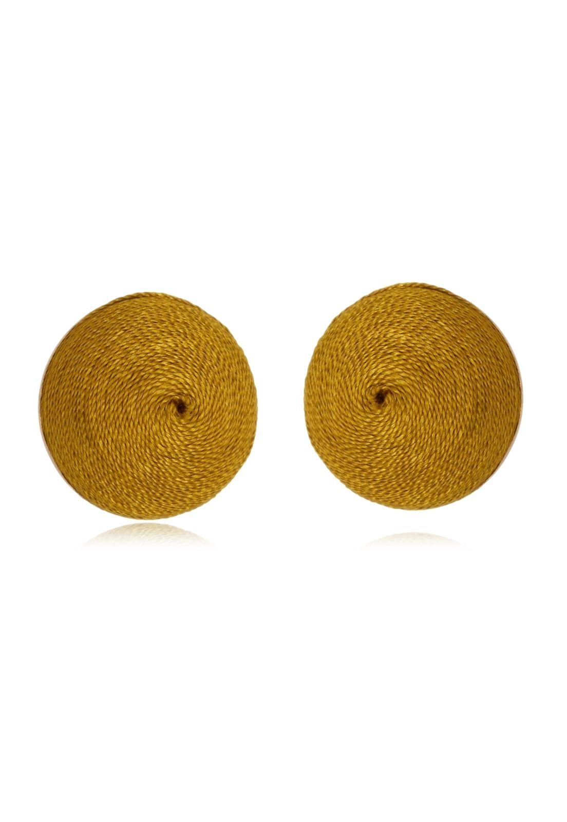 Brinco Le Diamond Botão De Seda Dourado