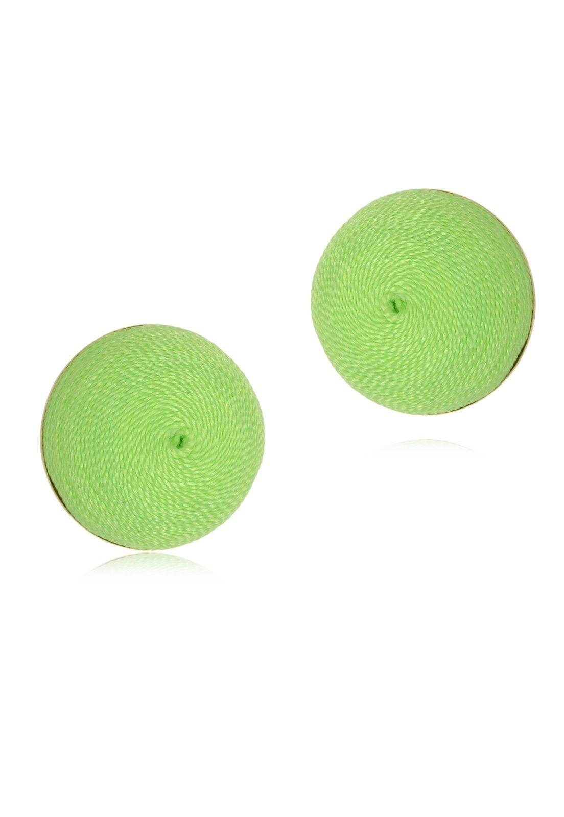 Brinco Le Diamond Botão De Seda Verde Fluorescente