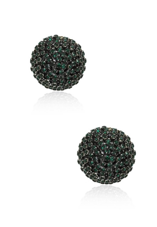 Brinco Le Diamond Botão Grande de Cristal Verde