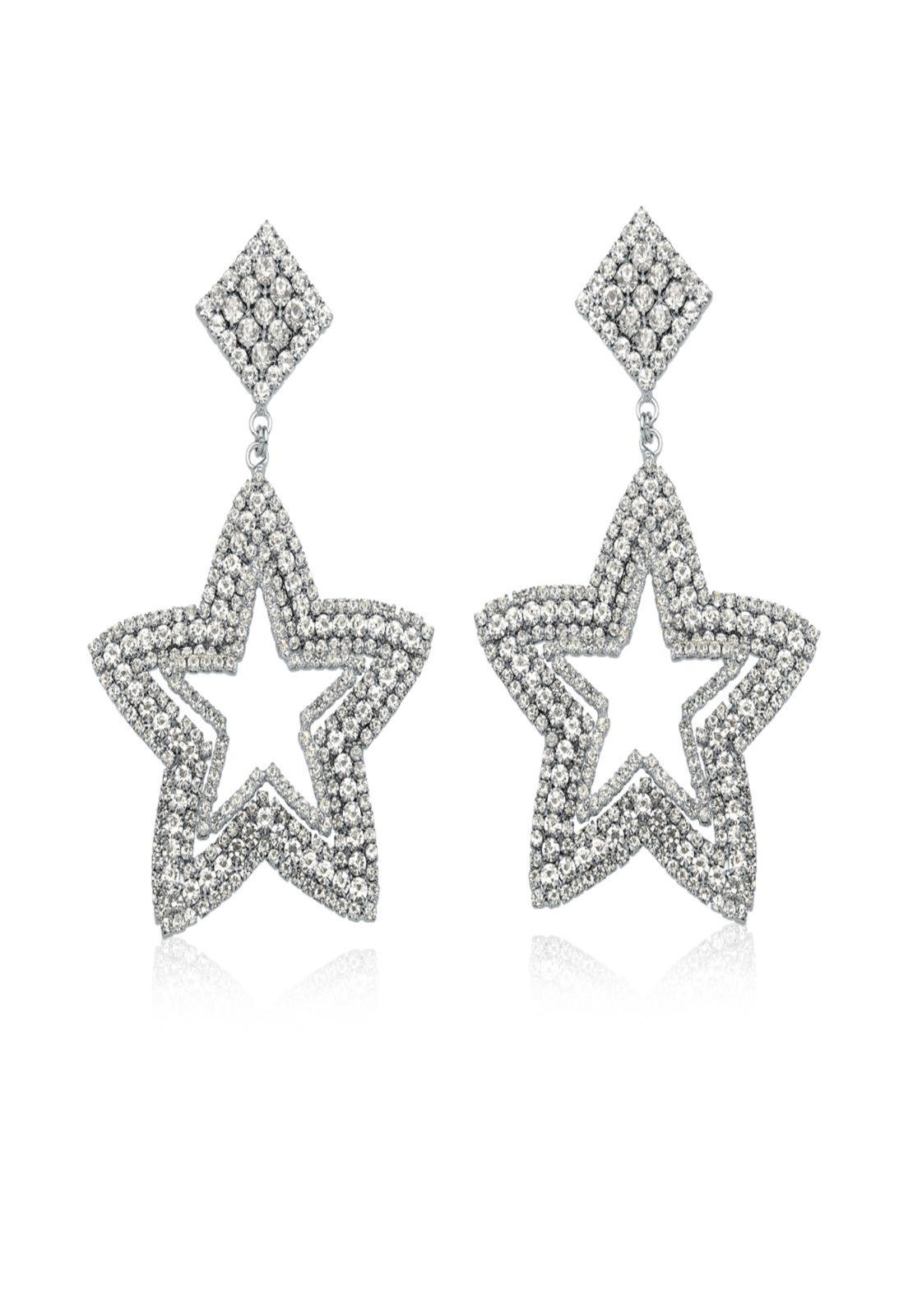 Brinco Le Diamond Brinco Bruxelas Estrela de Cristal Prata