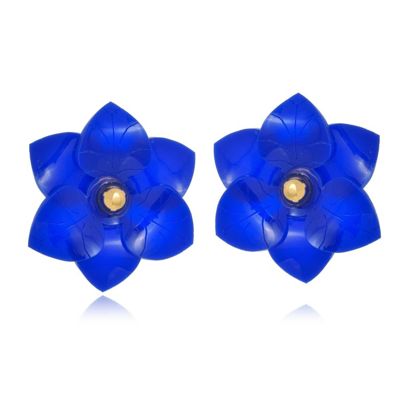 Brinco Le Diamond Camélia Azul Royal