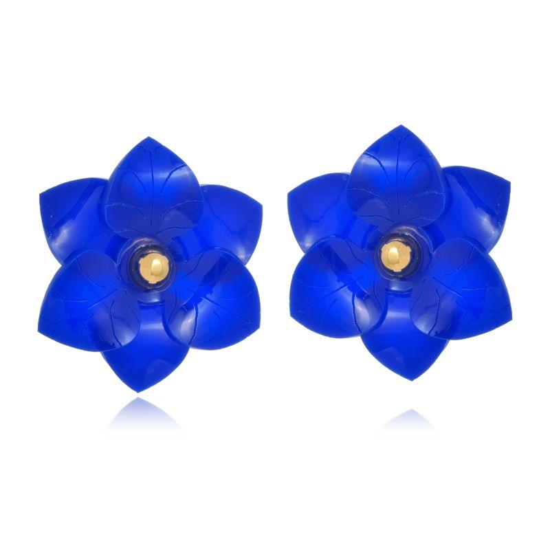 Brinco Le Diamond camélia pequena azul royal