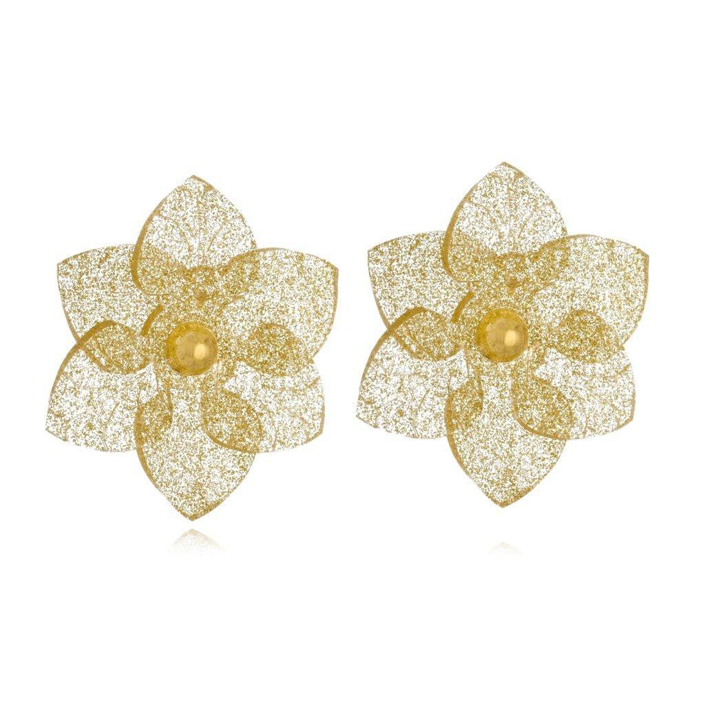 Brinco Le Diamond Camelia Transparente com Glitter Dourado