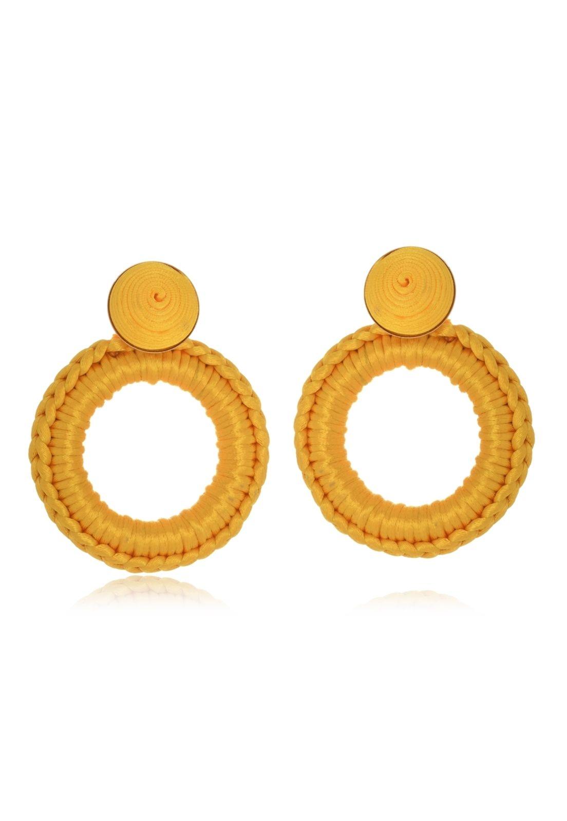 Brinco Le Diamond Carminha Crochê Amarelo