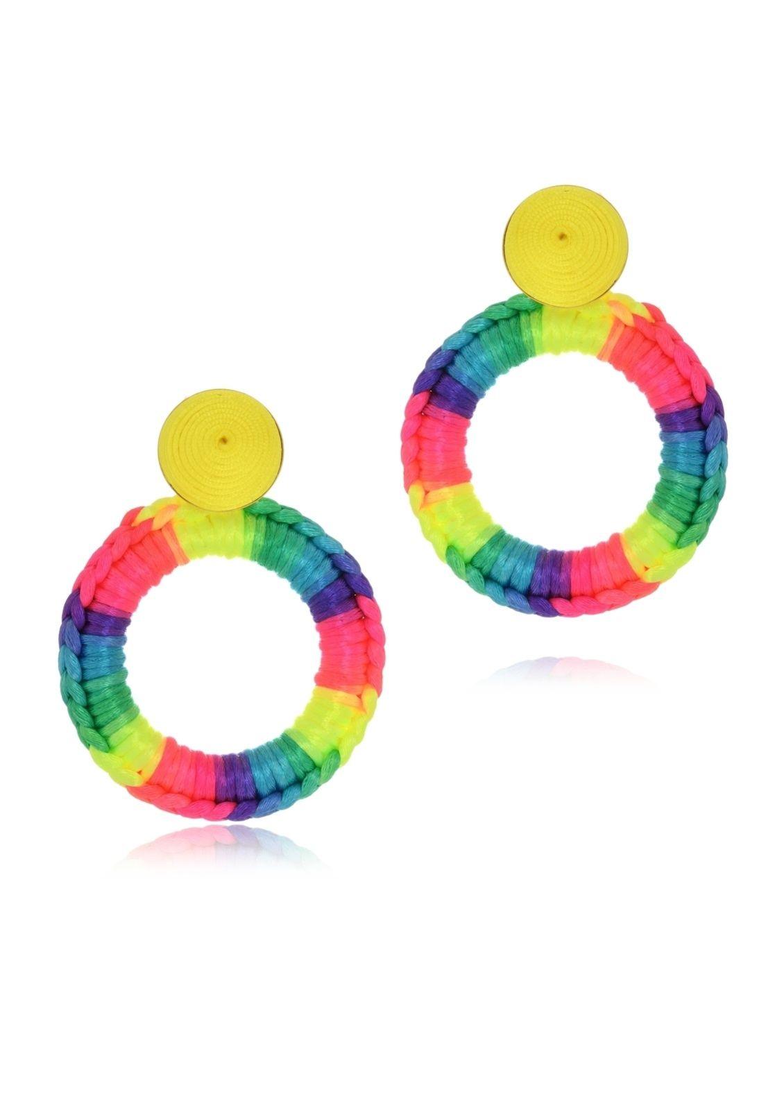 Brinco Le Diamond Carminha Crochê Multicolorido