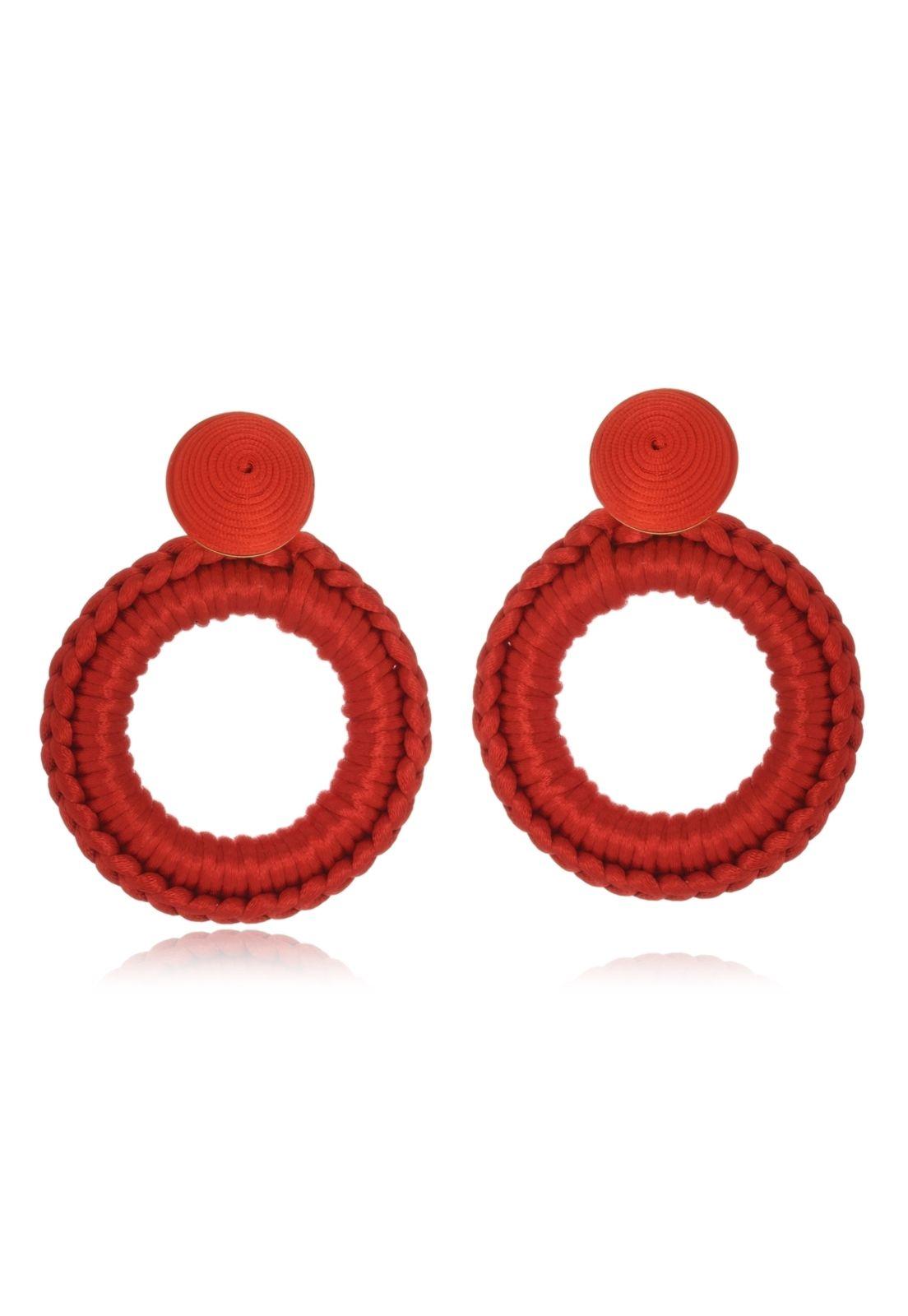 Brinco Le Diamond Carminha Crochê Vermelho