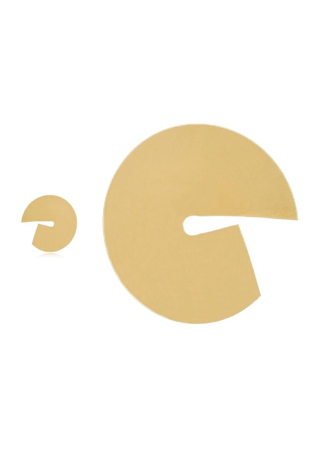 Brinco Le Diamond Chapa Côncava Dourada
