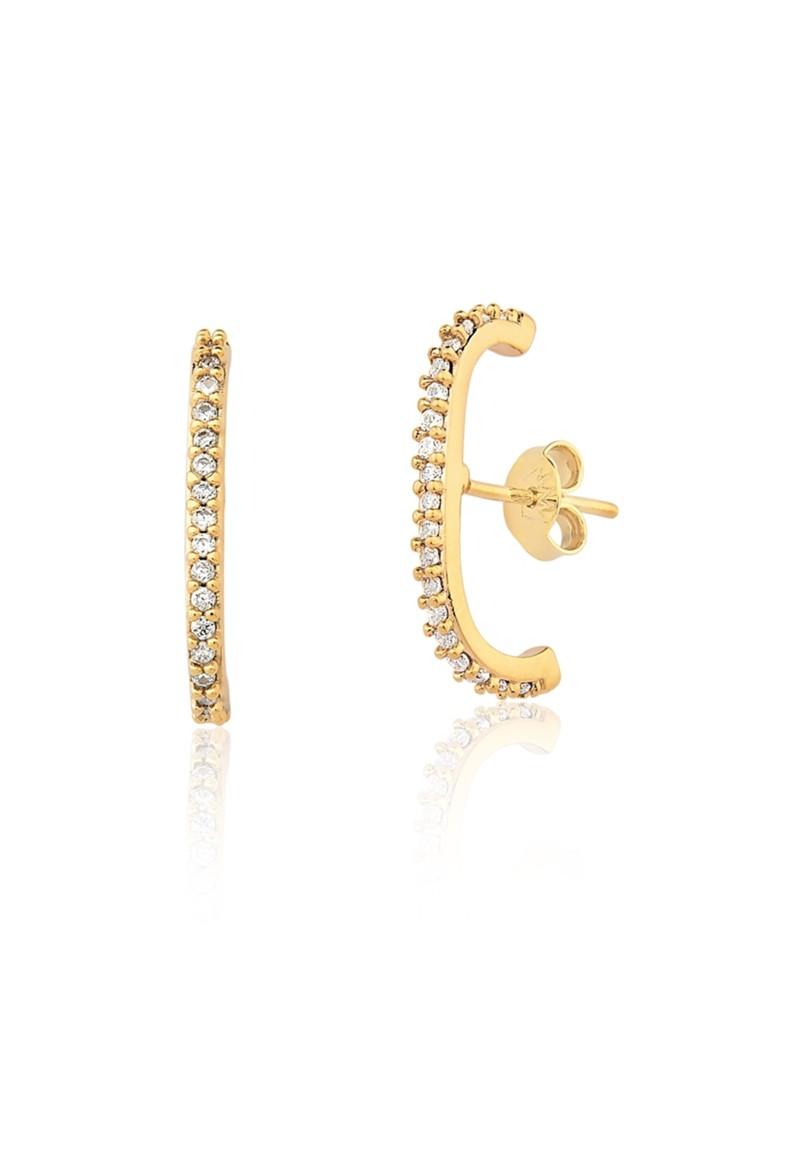 Brinco Le Diamond Clipp com Zircônias Dourado