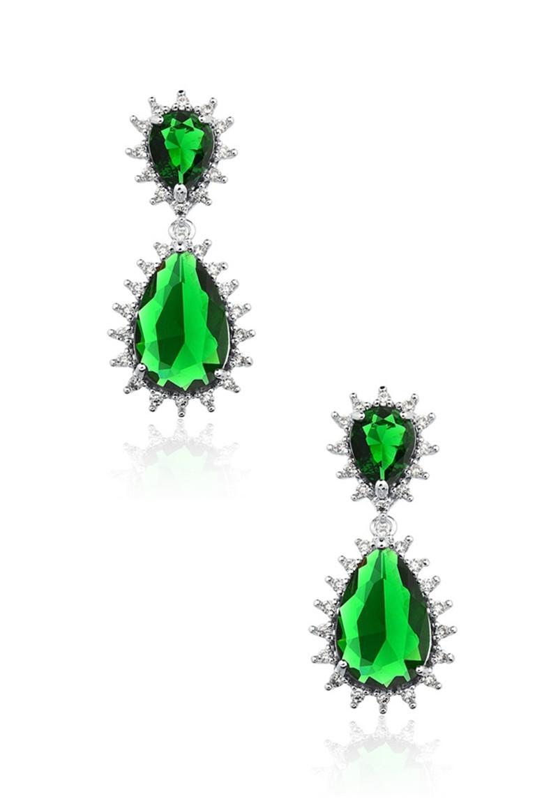 Brinco Le Diamond com Pingente Gotas Verde