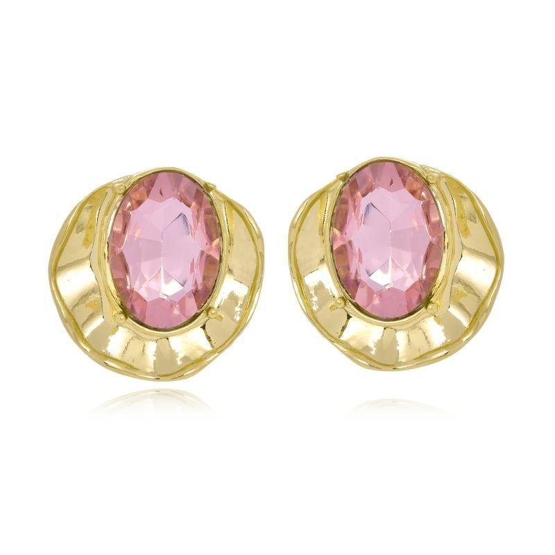 Brinco Le Diamond Concha Com Cristal Rosa Médio