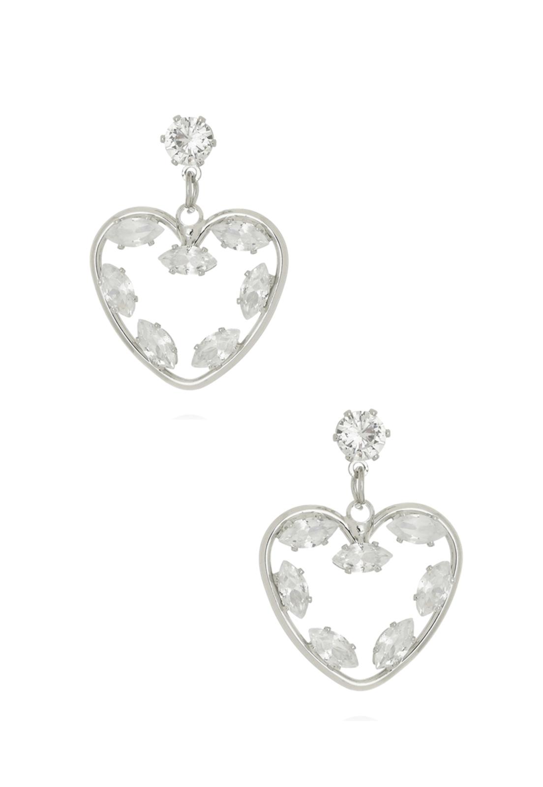 Brinco Le Diamond Coração c/ Zircônias Ródio Branco