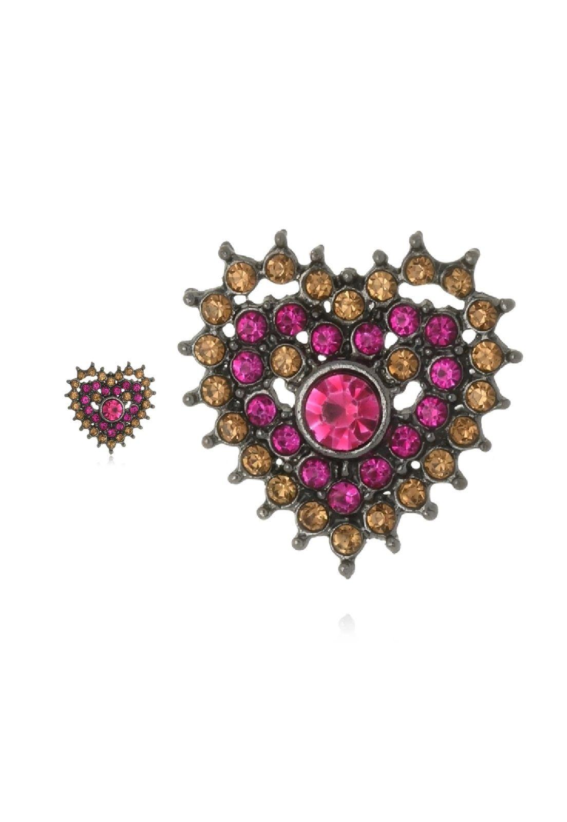 Brinco Le Diamond Coração Cristais Rosa