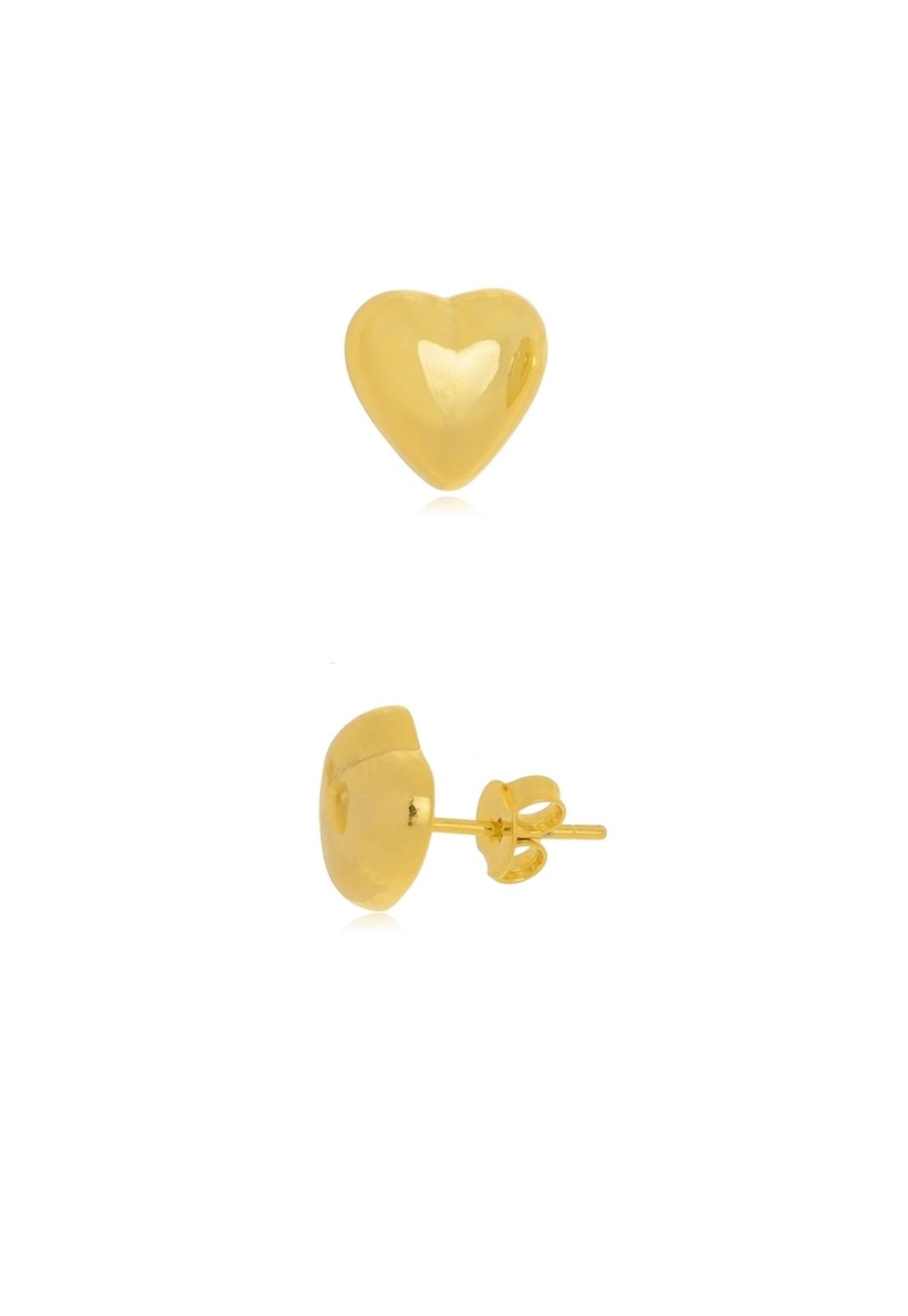 Brinco Le Diamond Coração Grande Dourado