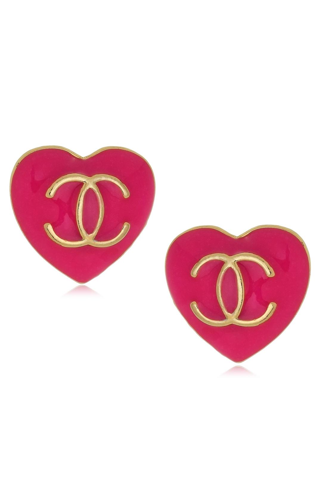 Brinco Le Diamond Coração Resinado Pink.
