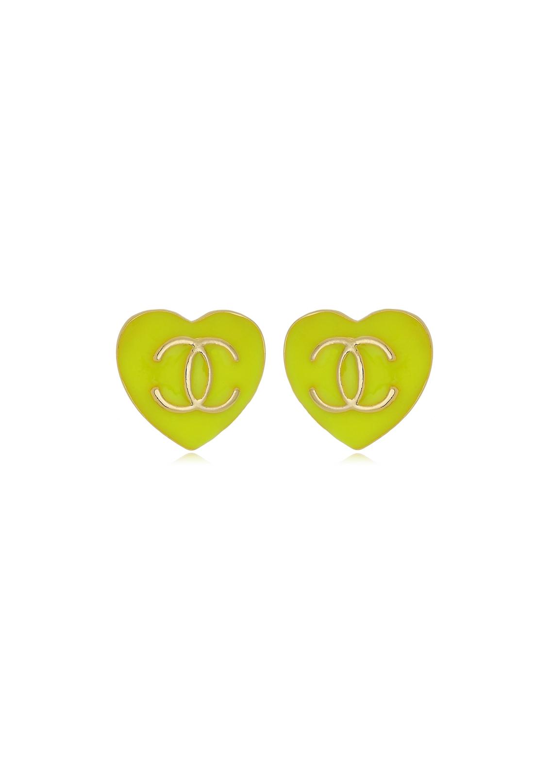Brinco Le Diamond Coração Resinado Verde
