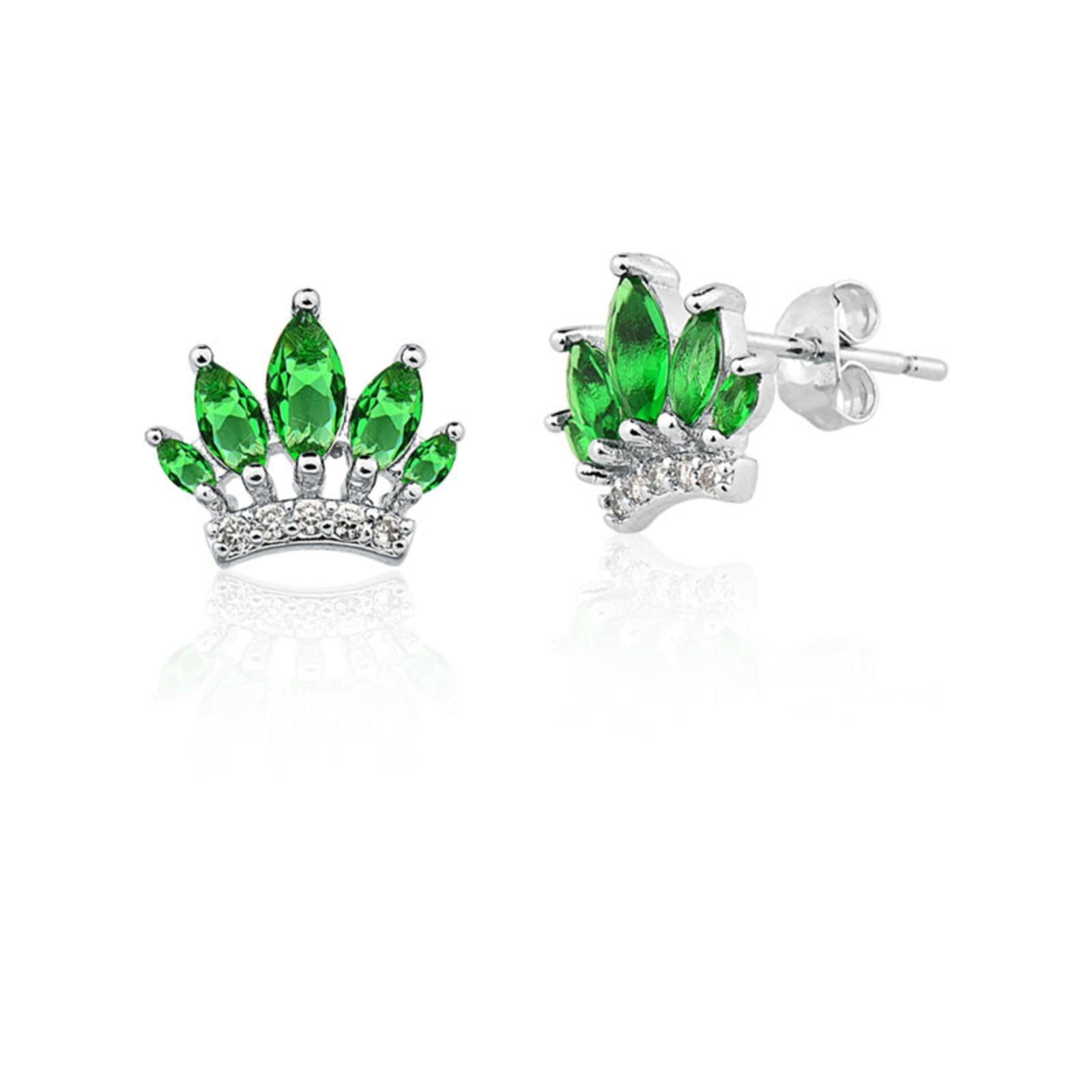 Brinco Le Diamond Coroa com Navetes Verde