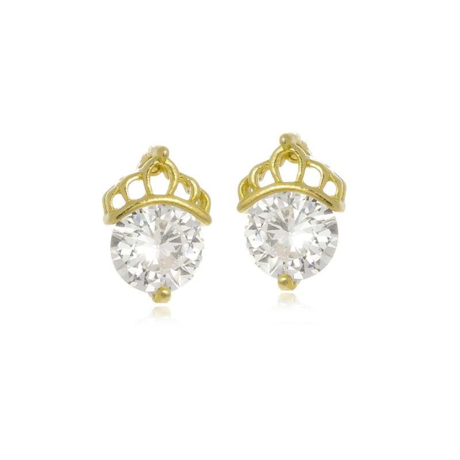 Brinco Le Diamond Coroa de Zircônia Dourado