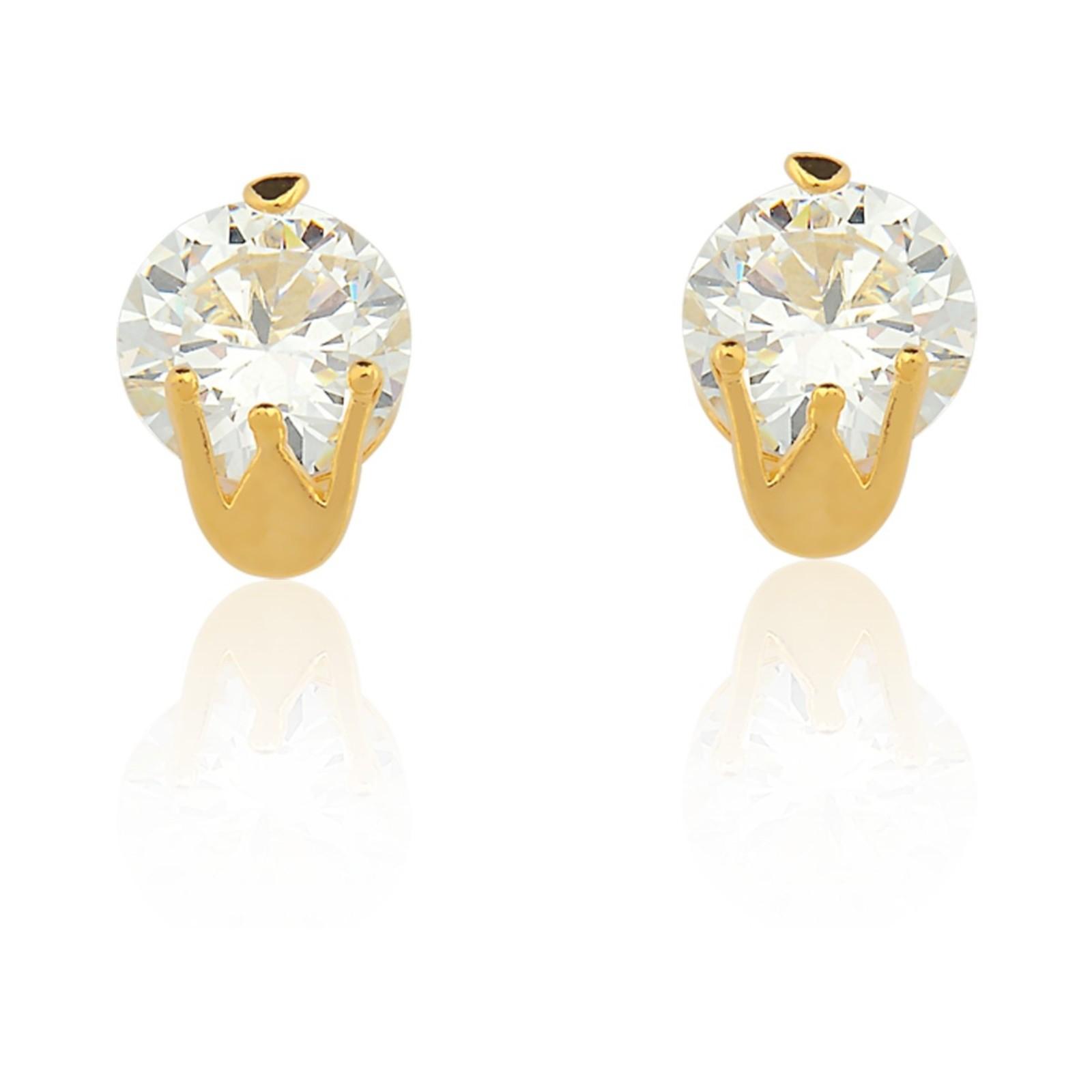 Brinco Le Diamond Coroa Dourado