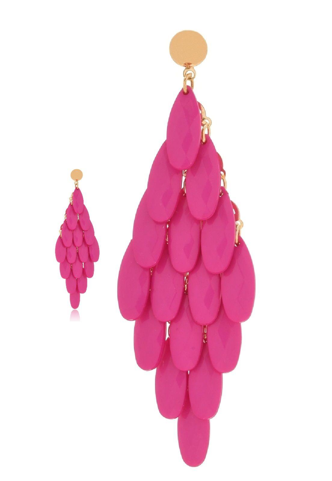 Brinco Le Diamond Cortina Acrílico Lapidado Rosa