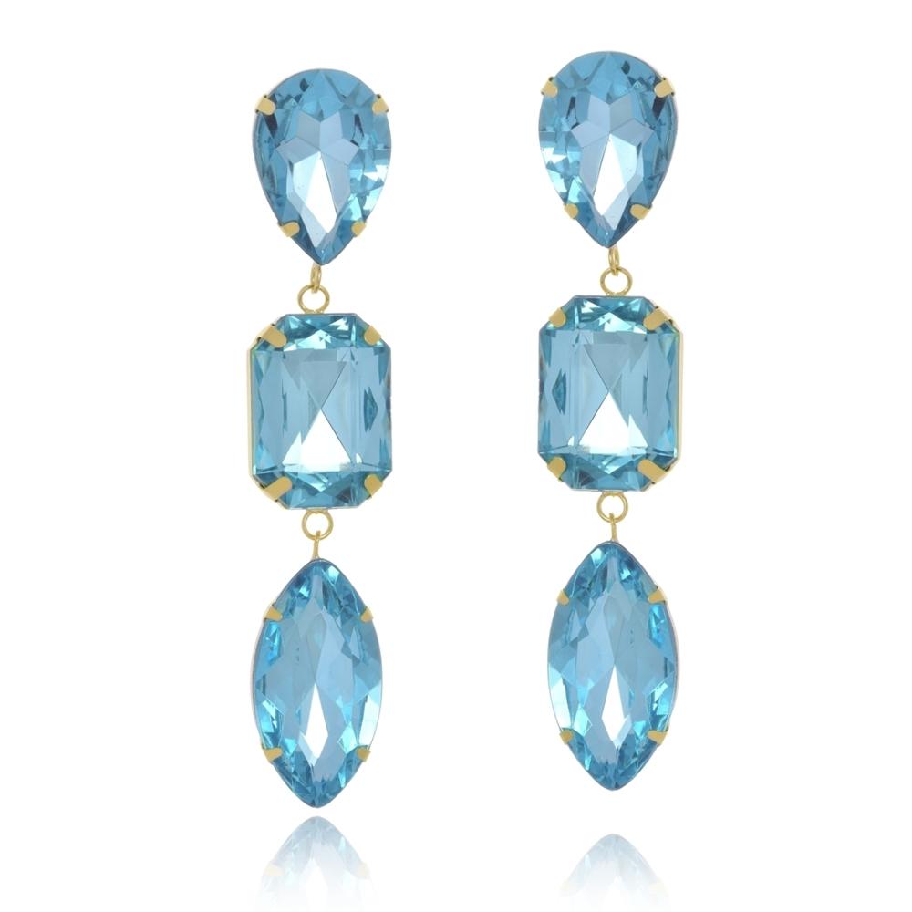 Brinco Le Diamond Cristais Azul Água Marinha